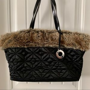 Nine West quilted first faux black tote shoulder